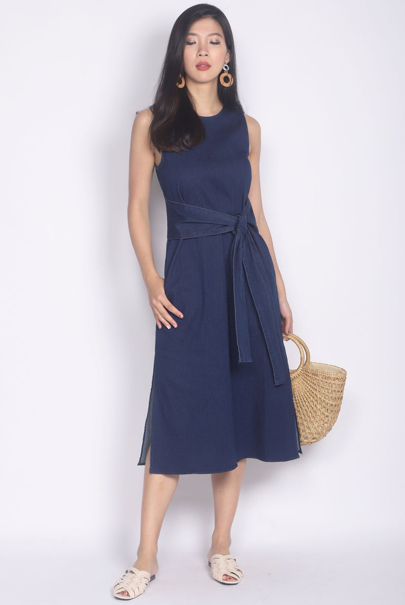 Kelby Denim Tie Waist Dress In Dark Blue