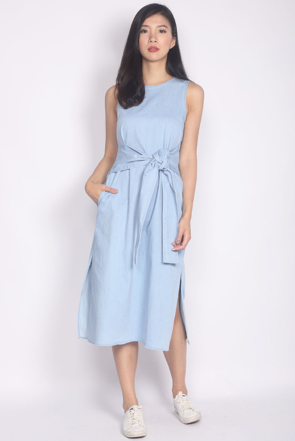 Kelby Denim Tie Waist Dress In Light Blue