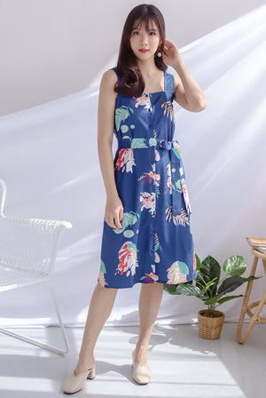 Kelsa Leafy Buttons Dress In Navy Blue