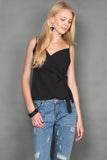 Kenzie Thin Spag Wrap Top In Black