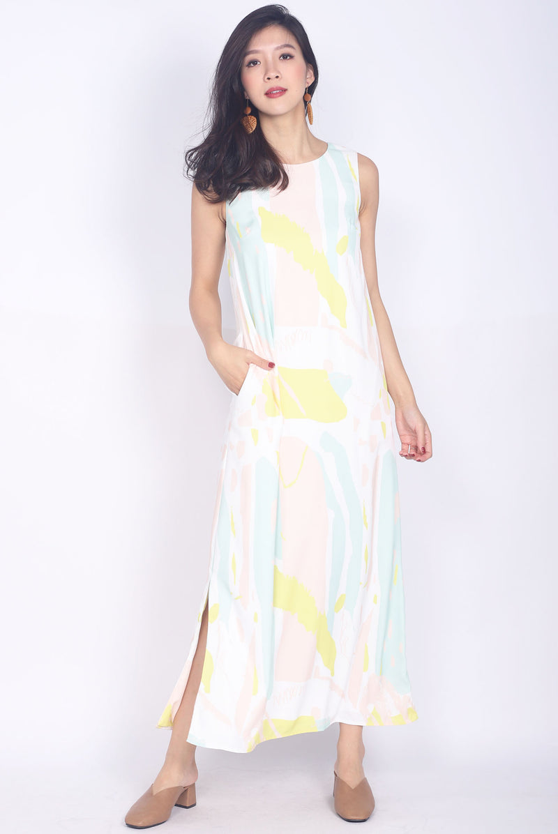 Keri Colourful Brush Slit Dress In Yellow