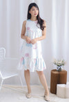 Kiana Garden Drop Hem Dress In White