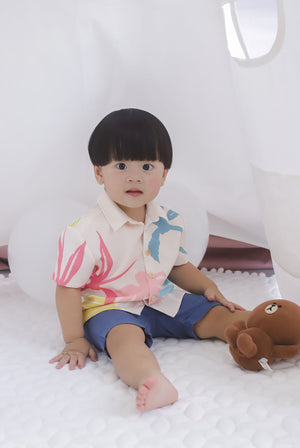 *Kids* Monstera Buttons Shirt In Cream