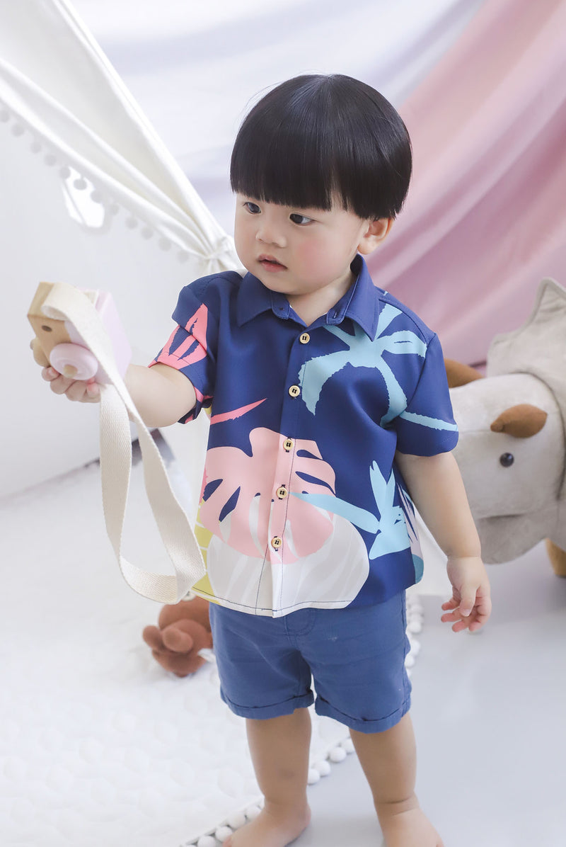 *Kids* Monstera Buttons Shirt In Navy Blue