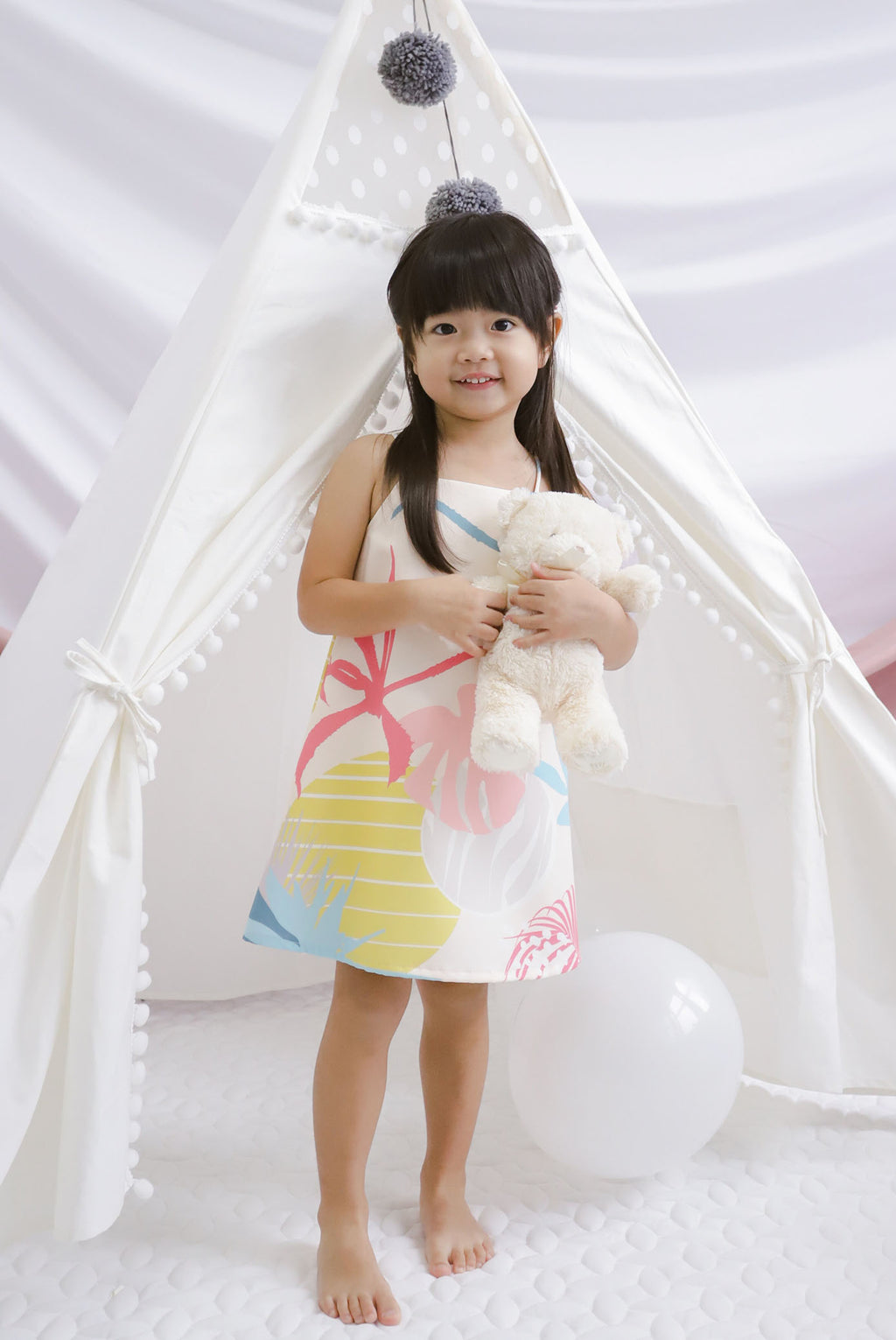 *Kids* Monstera Trapeze Dress In Cream