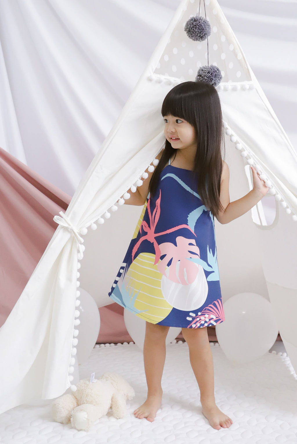 *Kids* Monstera Trapeze Dress In Navy Blue