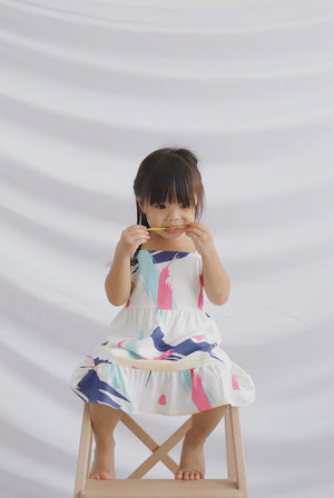 *Restocked*Kids* Addysen Colourful Brush Dress In Pink