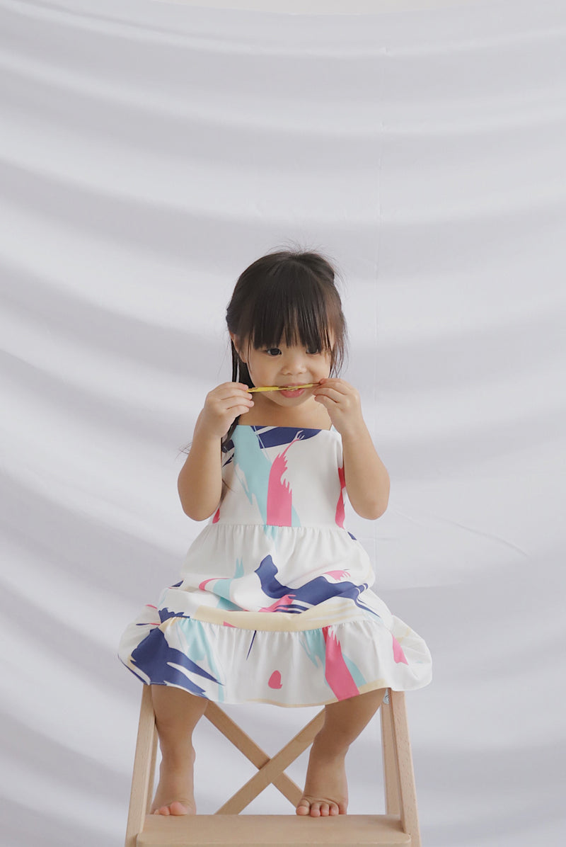 *Kids* Addysen Colourful Brush Dress In Pink