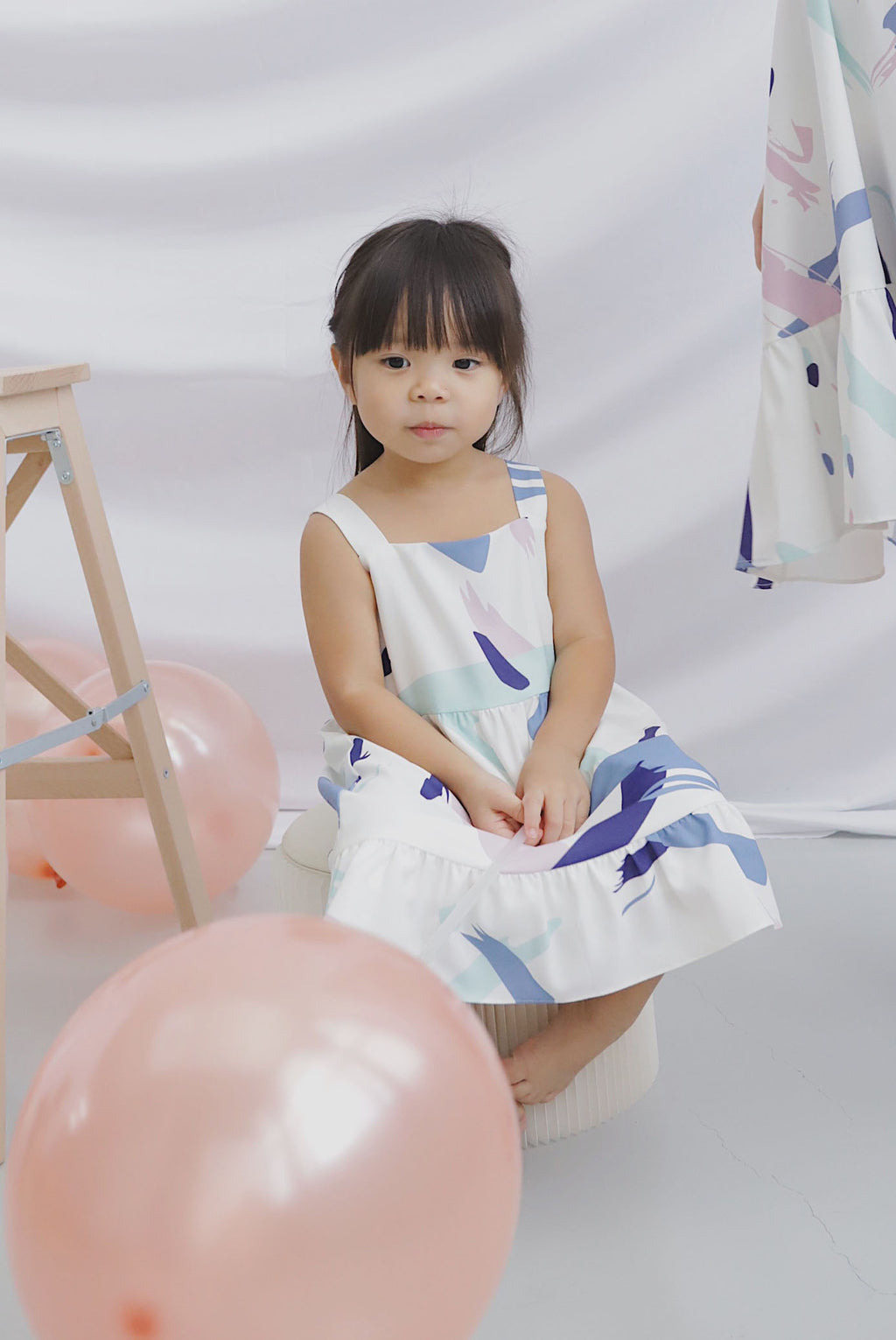 *Backorder*Kids* Addysen Colourful Brush Dress In Purple