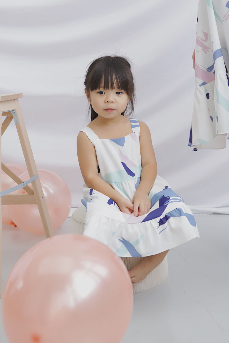 *Restocked*Kids* Addysen Colourful Brush Dress In Purple