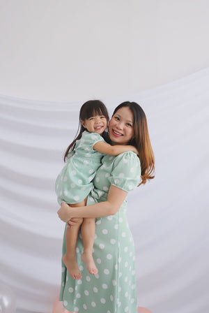 *Kids* Clarisse Polkadot Poof Sleeve Dress In Mint Green