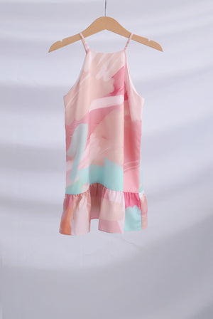 *Kids* Disa Pink Abstract Halter Dress