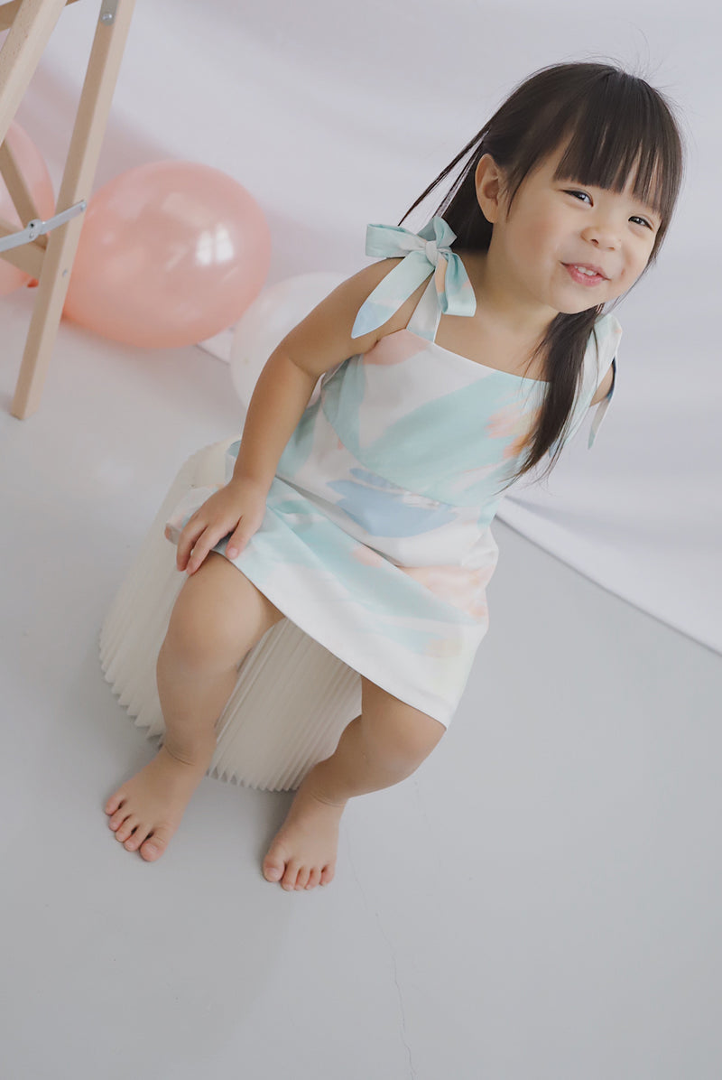 *Restocked*Kids* Glenys Tie Shoulder Dress In Green