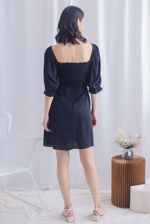 Kierra Smocked Puffy Sleeve Dress In Black