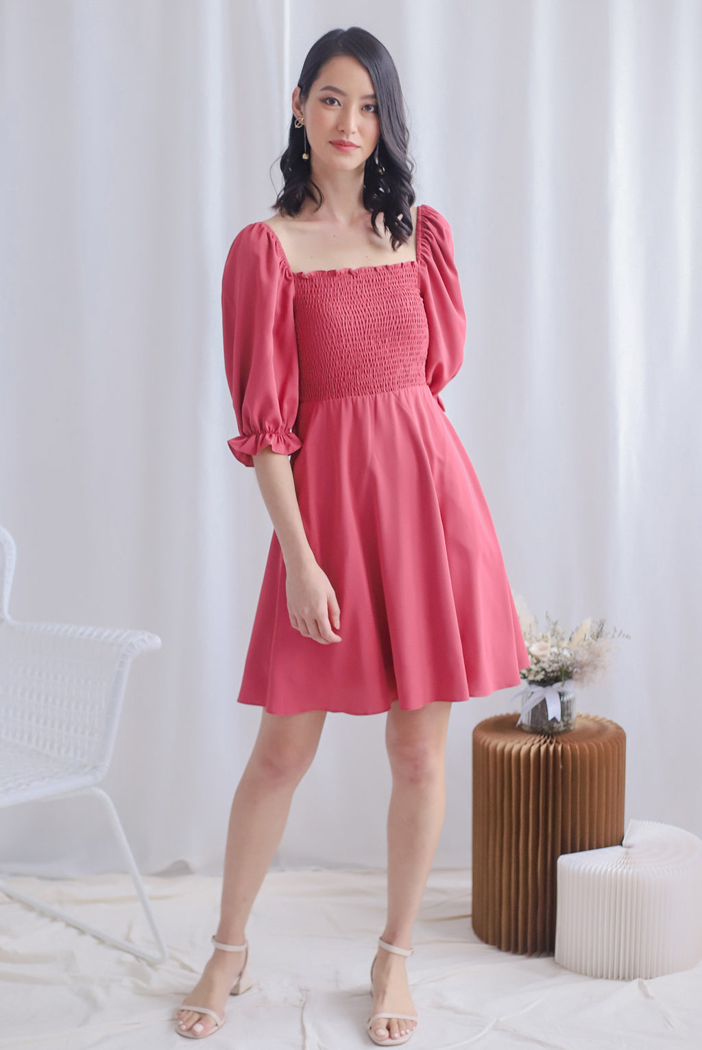 Kierra Smocked Puffy Sleeve Dress In Faded Rose