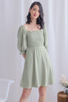 Kierra Smocked Puffy Sleeve Dress In Pistachio