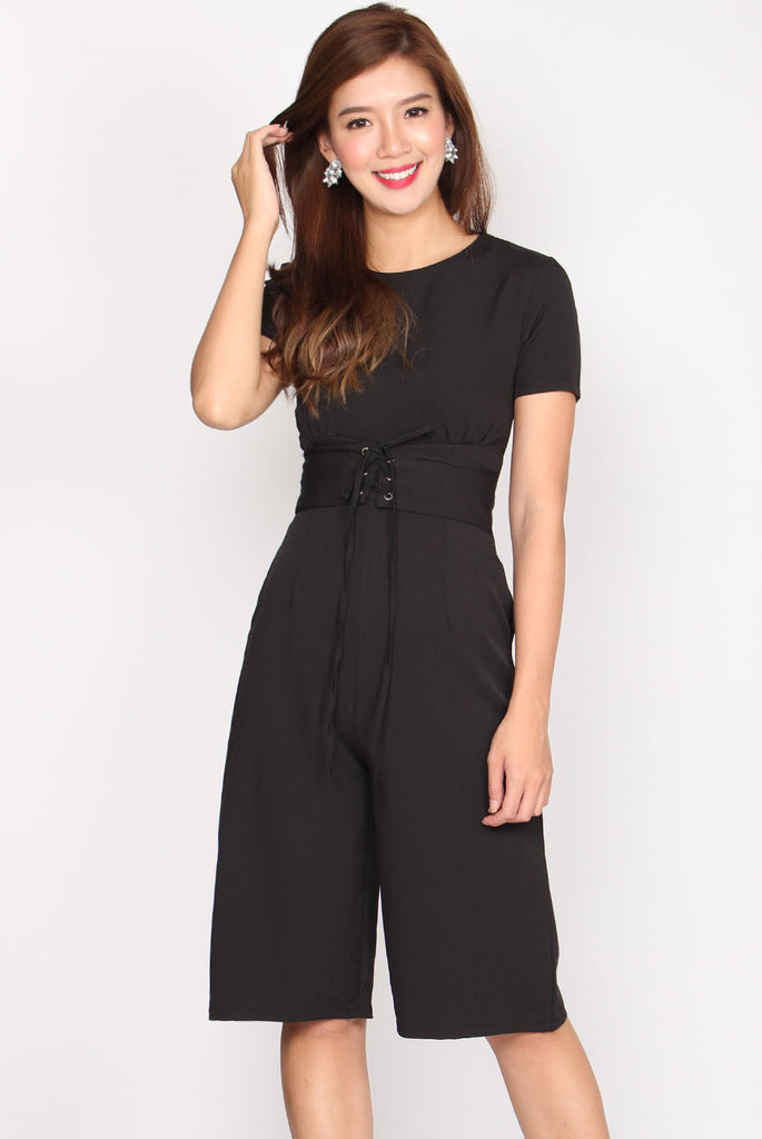 Kitt Tie Waist Jumpsuit In Black