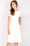 Kitt Tie Waist Jumpsuit In White