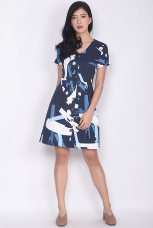 Klory Paint Sleeved Buttons Dress In Navy Blue
