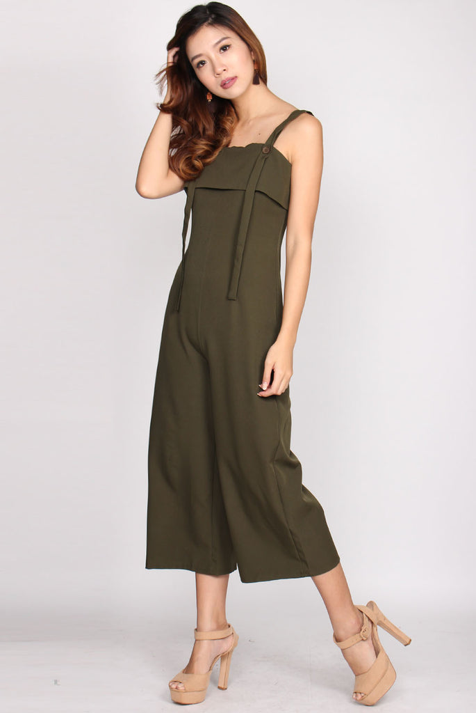 Kodiak Buttons Straps Jumpsuit In Olive