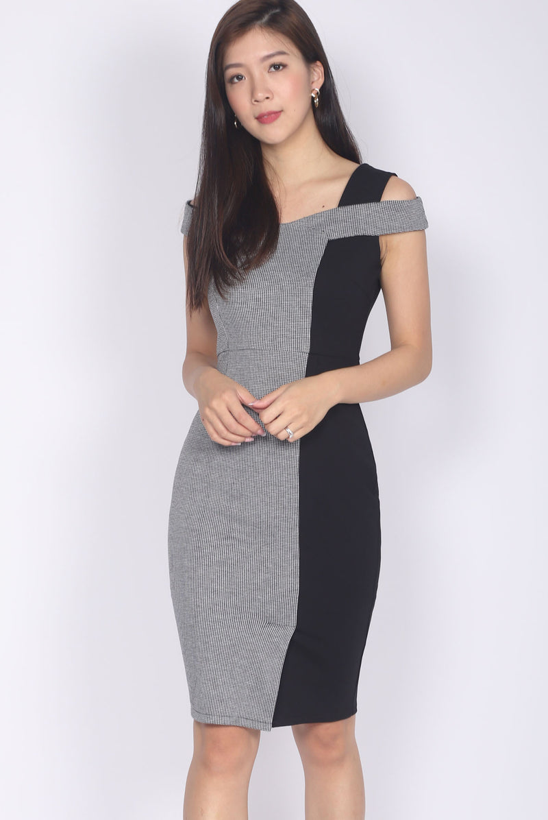 *Premium* Krisleen Houndstooth Pencil Dress In Black