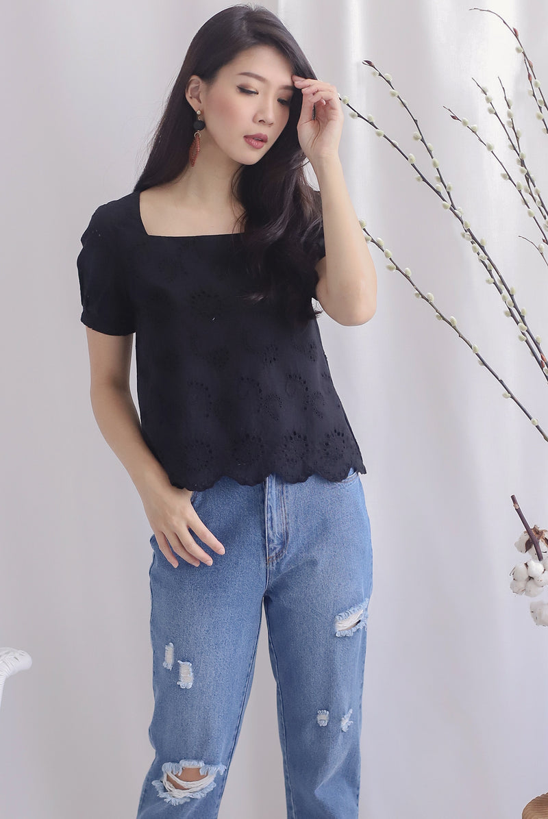 Kylise Eyelet Square Neck Top In Black