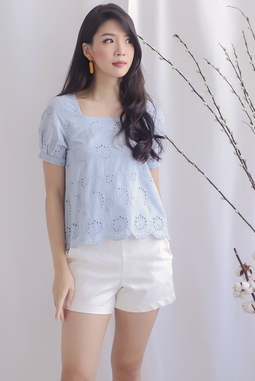 Kylise Eyelet Square Neck Top In Skyblue