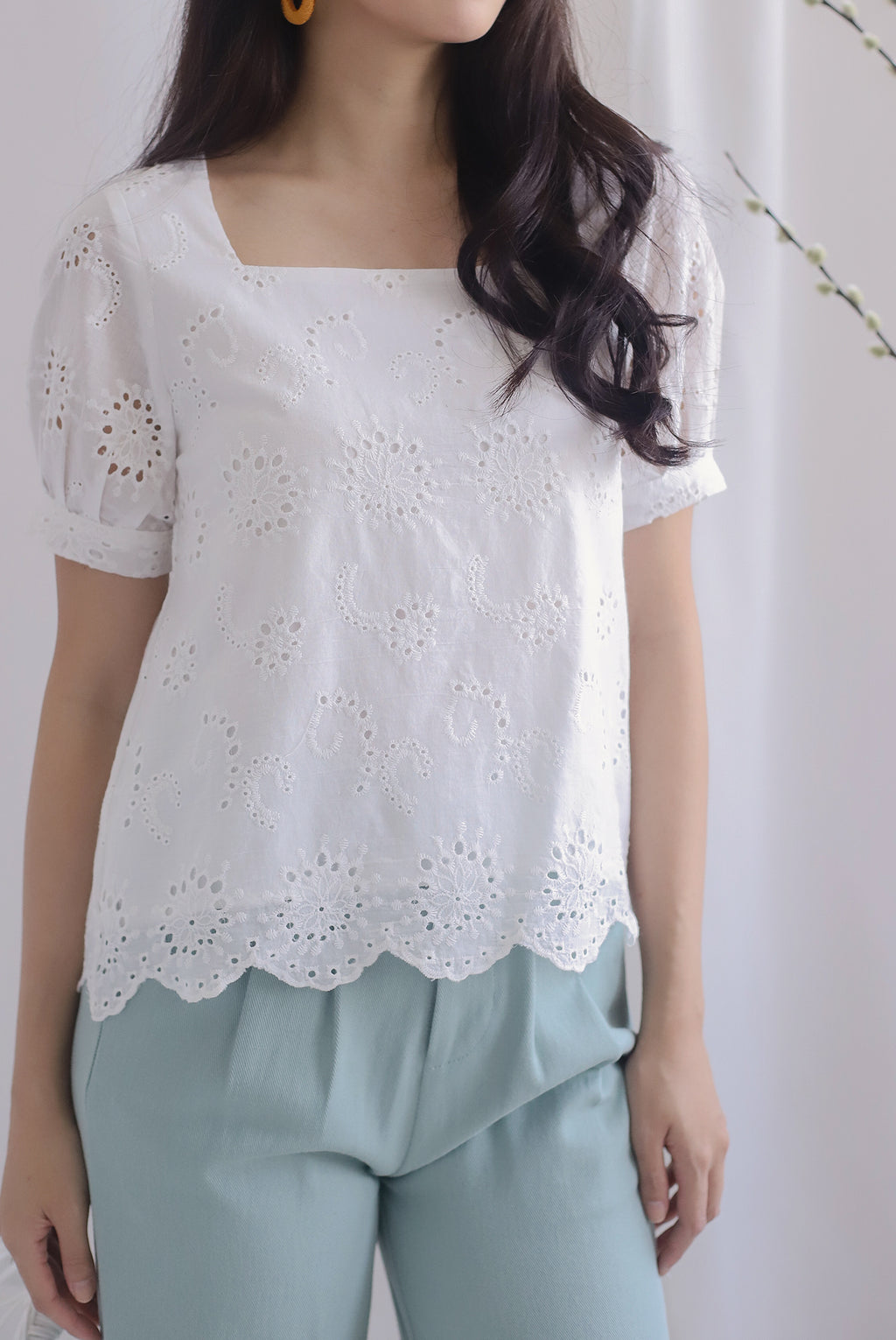Kylise Eyelet Square Neck Top In White