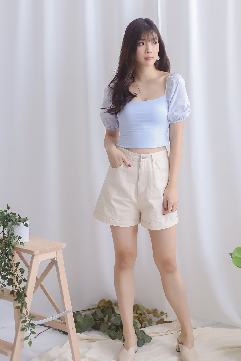 Kyra Puff Sleeve Top In Skyblue