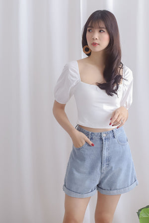 Kyra Puff Sleeve Top In White