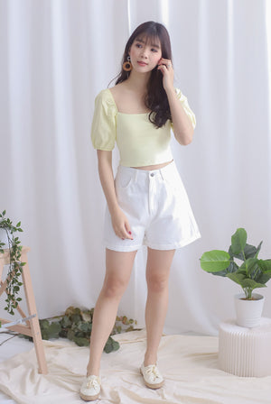 Kyra Puff Sleeve Top In Pale Yellow