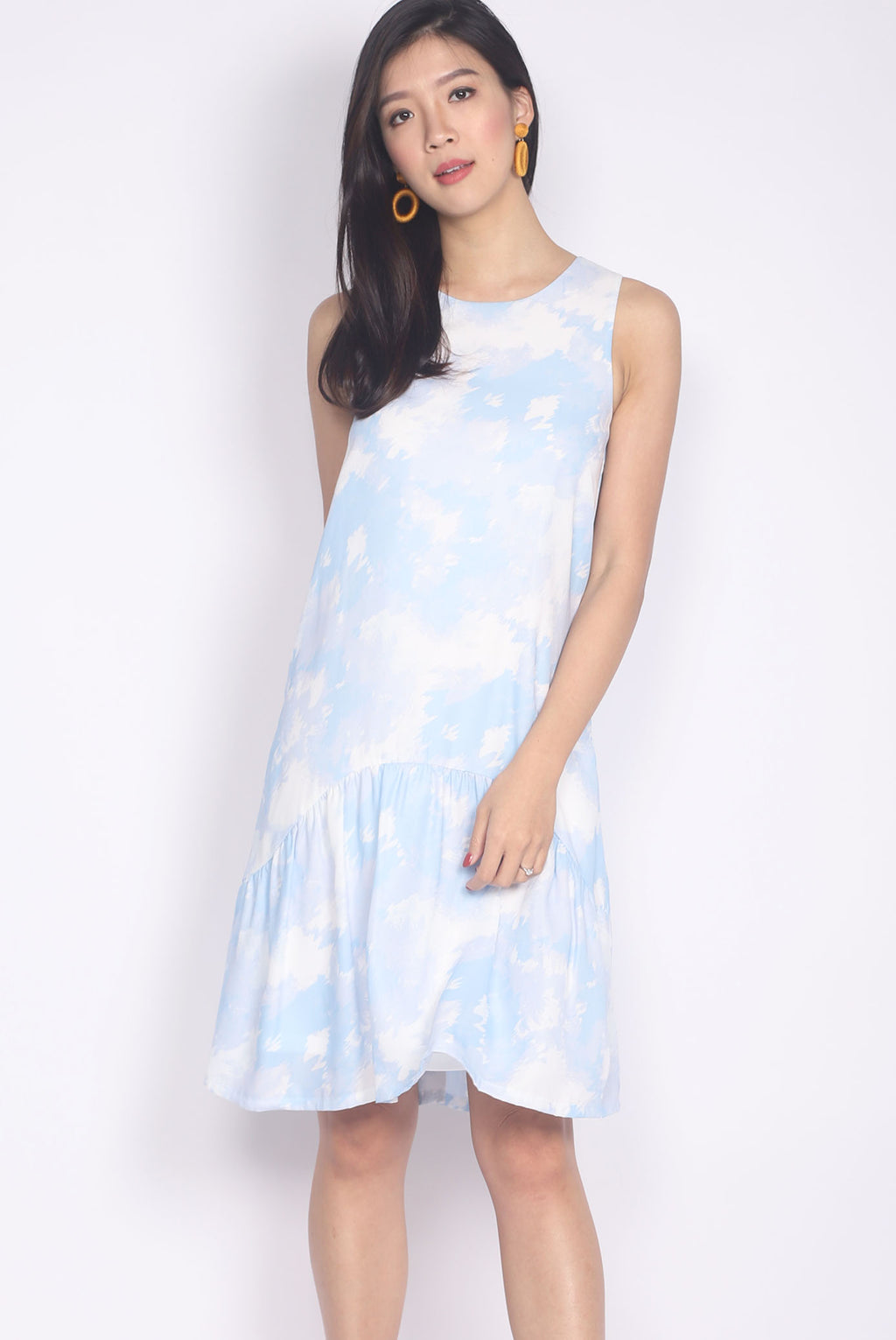 Laconia Dye Curve Dropwaist Dress In Blue