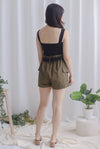 Lara Paperbag Shorts In Olive
