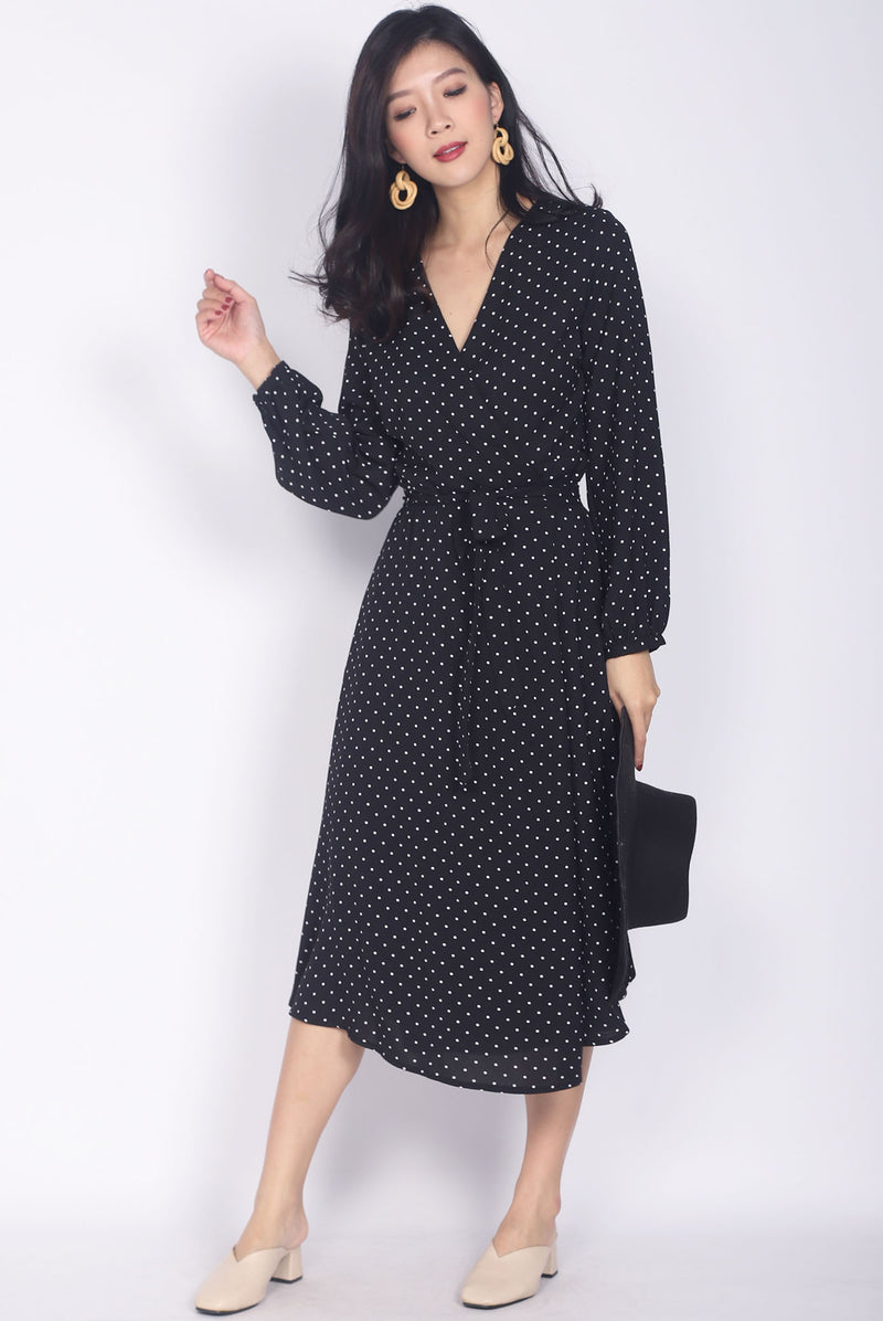 Larique Polkadot Long Sleeve Wrap Dress In Black