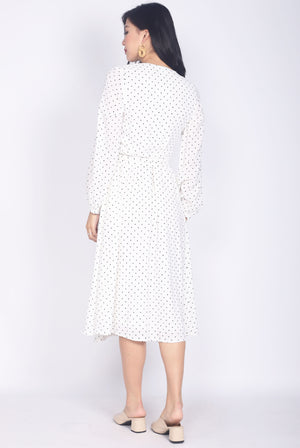 Larique Polkadot Long Sleeve Wrap Dress In White