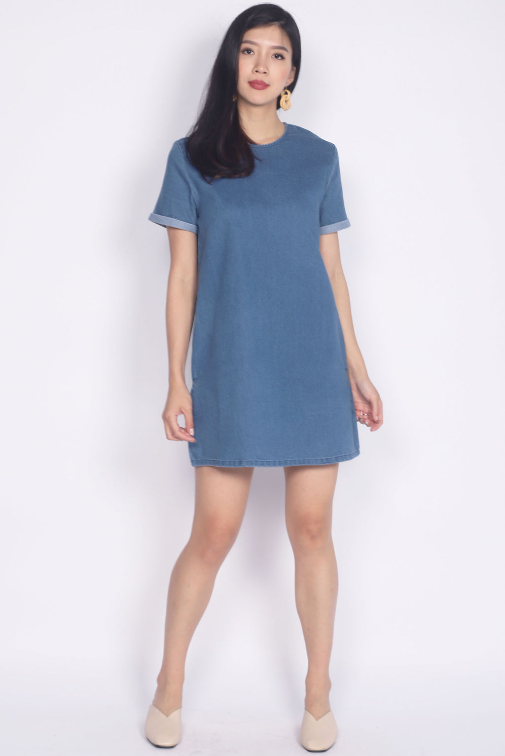 Larkin Denim Sleeved Dress In Light Blue