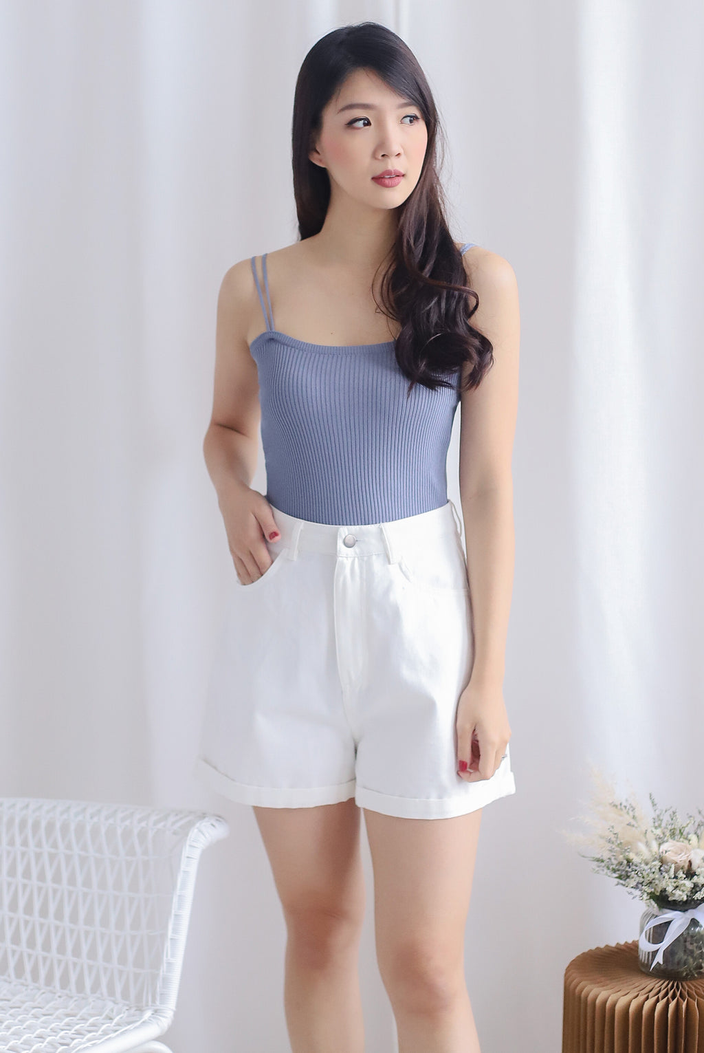 Layle Ribbed Twin Straps Top In Periwinkle