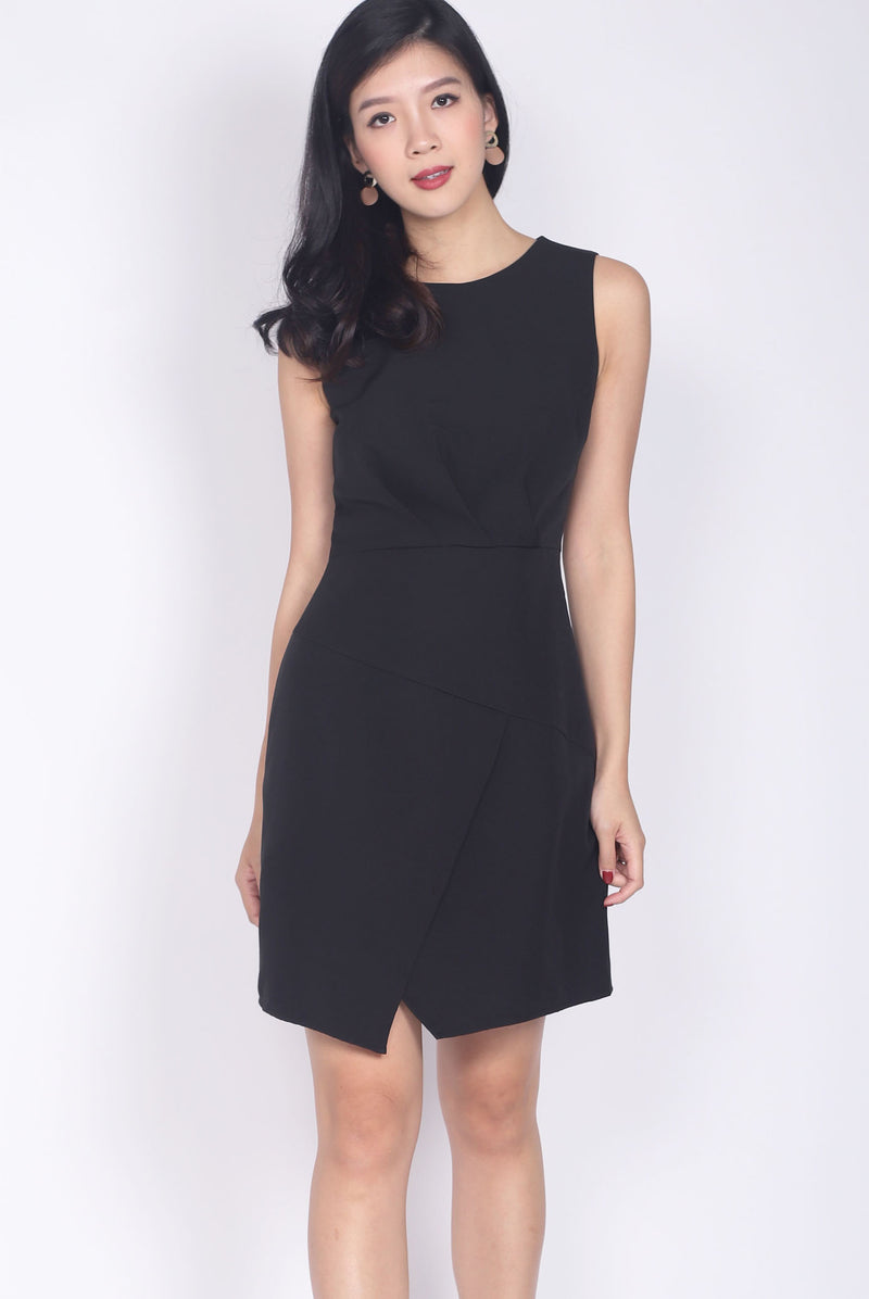 Leibovitz Pleated Work Dress In Black