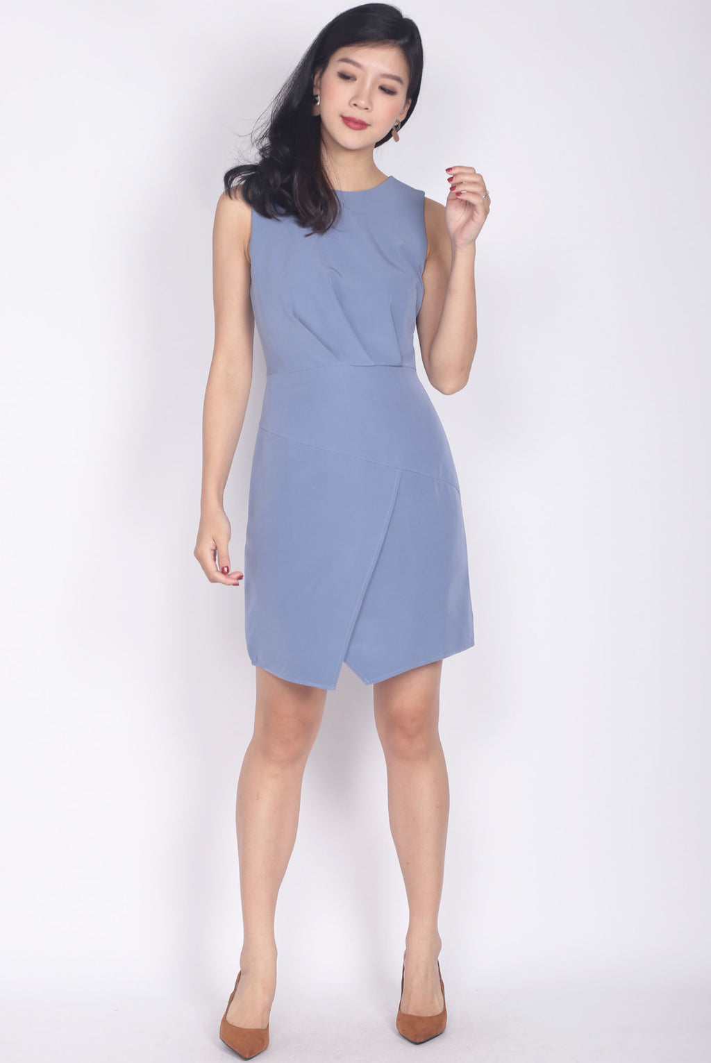 Leibovitz Pleated Work Dress In Periwinkle