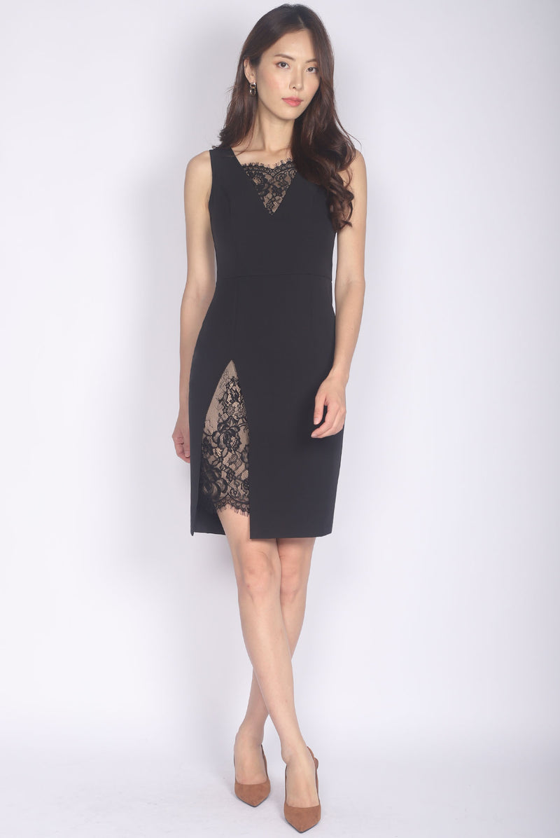 *Premium* Leighton Lace Slit Dress In Black