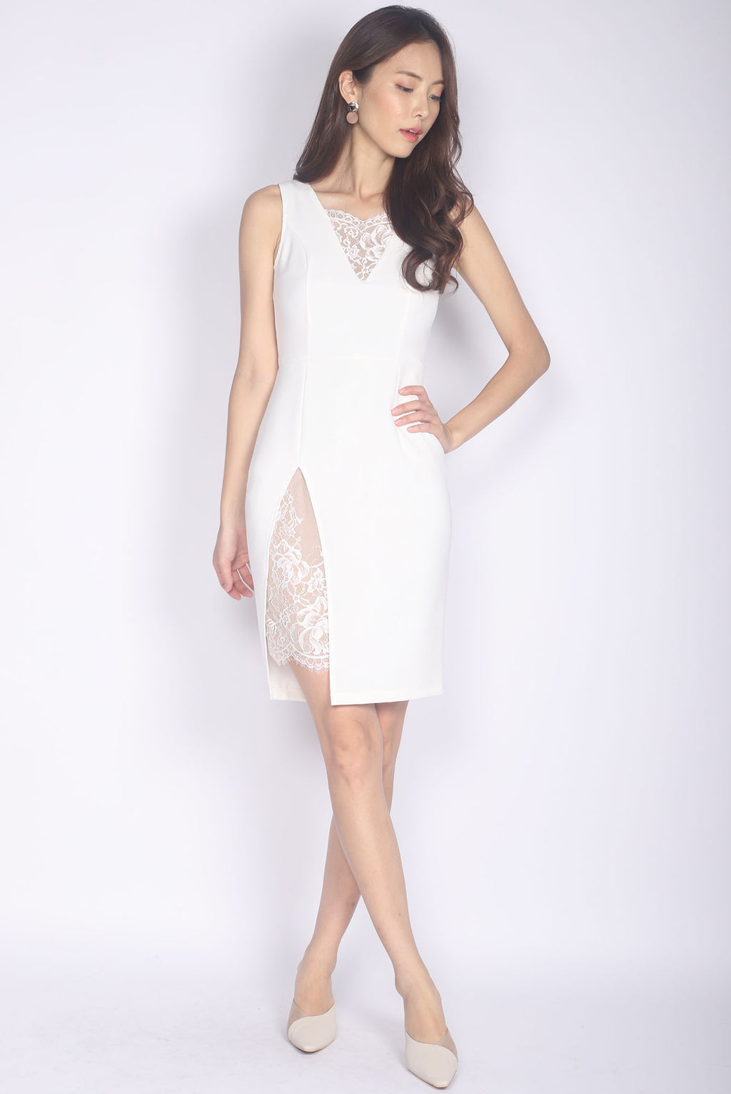 *Premium* Leighton Lace Slit Dress In White