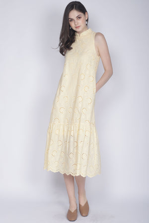 Leisha Eyelet Removable Collar Dress In Yellow