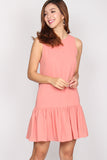Leora Drop Waist Shift Dress In Coral