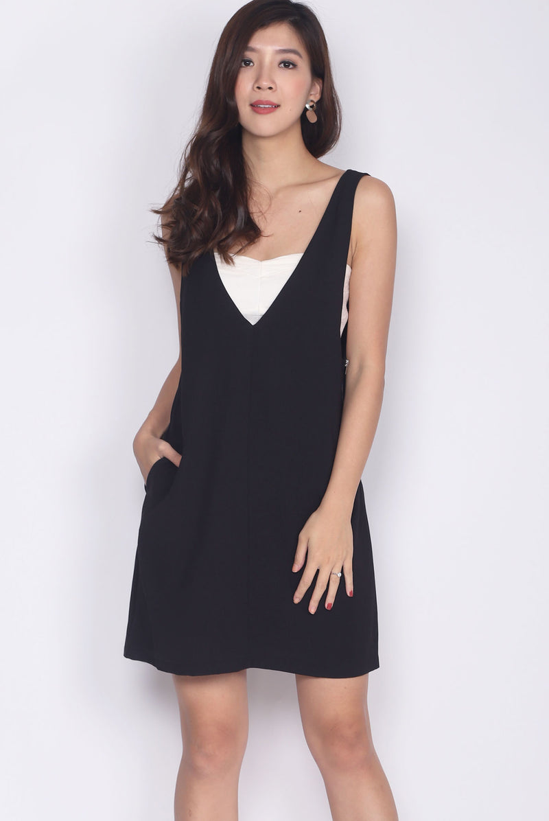 Lerette Slip On Pinafore In Black