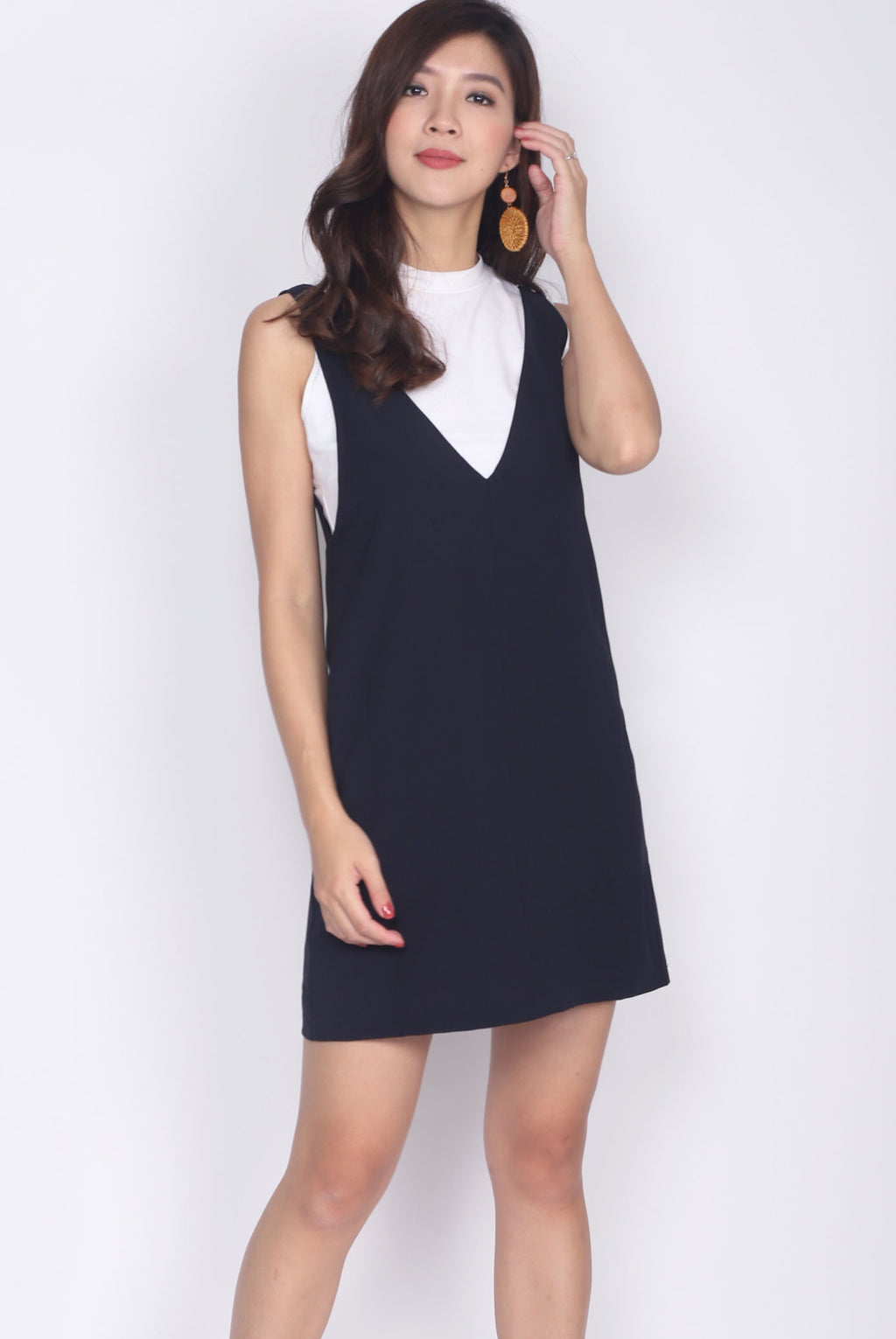 Lerette Slip On Pinafore In Navy Blue