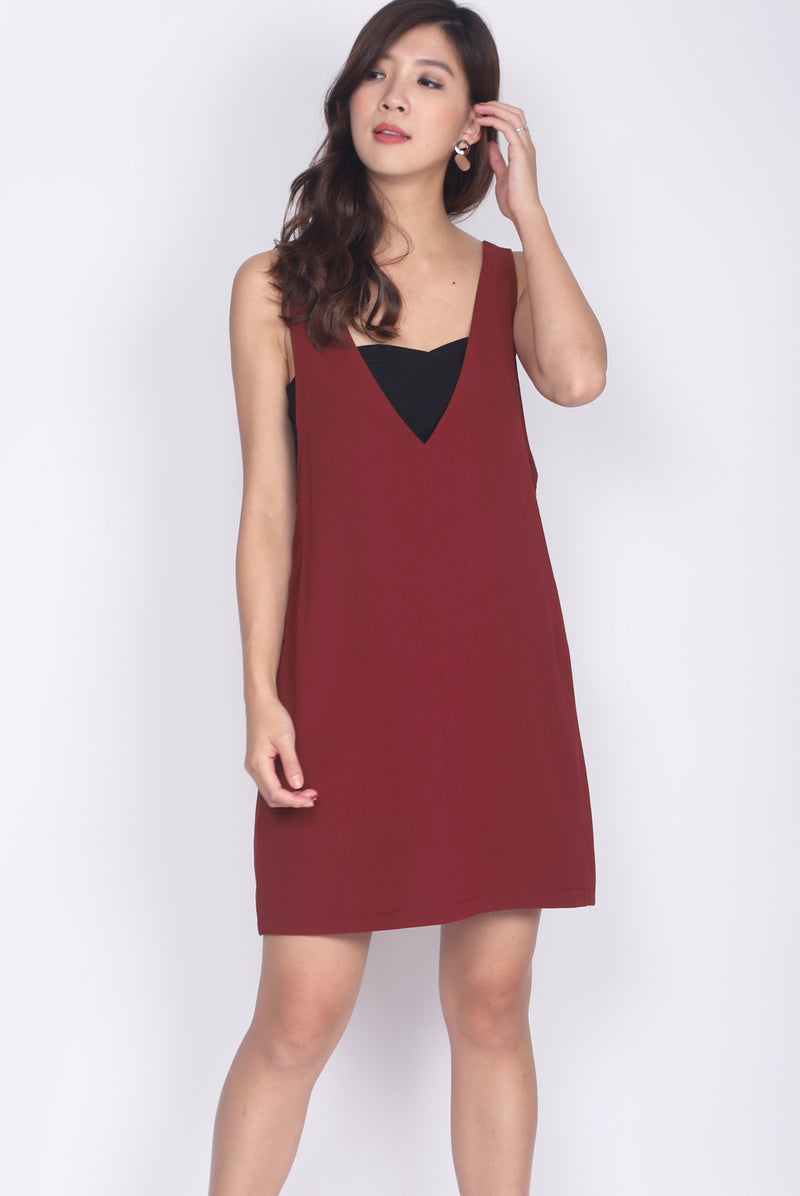 Lerette Slip On Pinafore In Wine Red