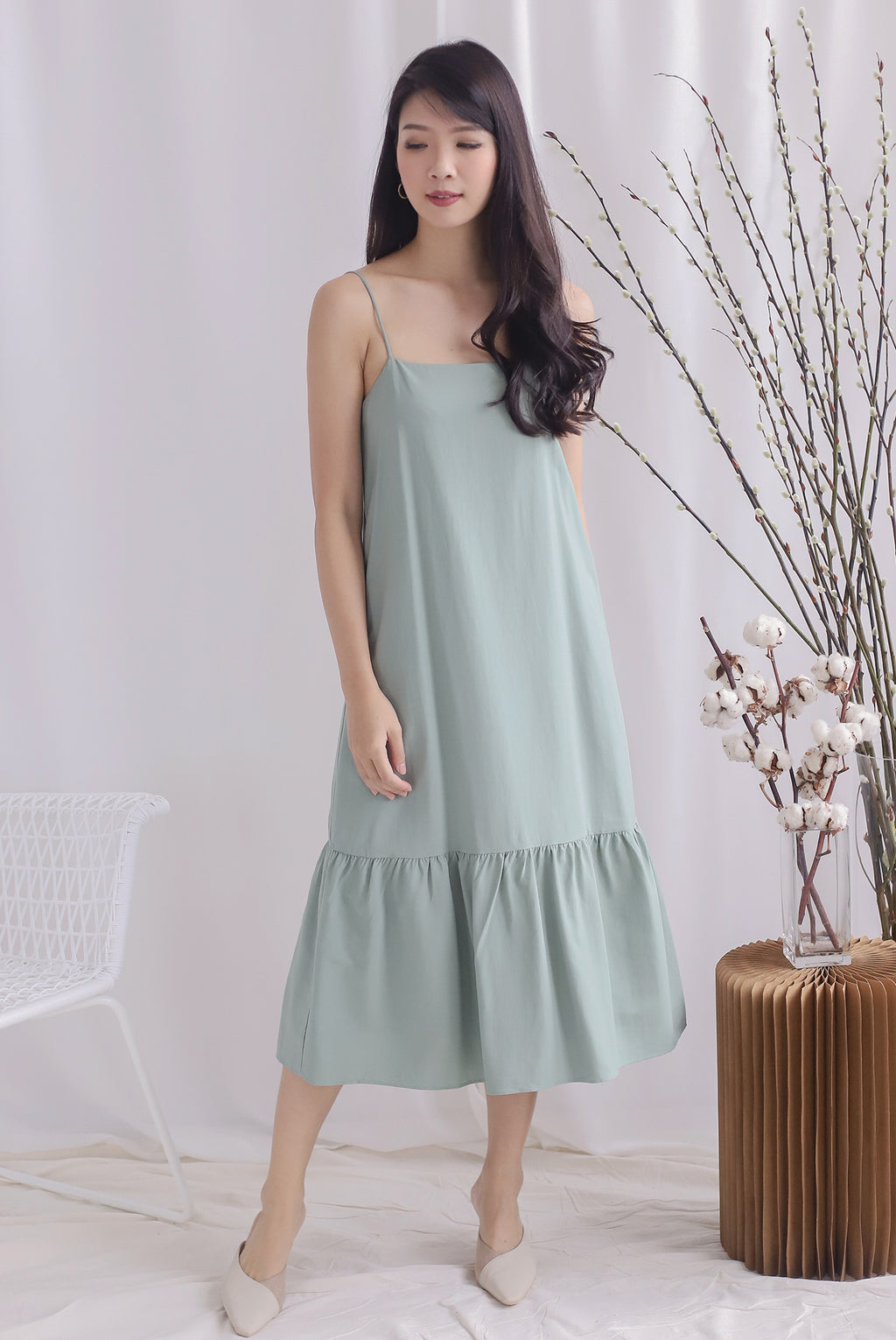 Lezann Thin Strap Drop Hem Dress In Sage