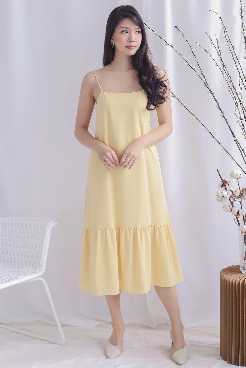 Lezann Thin Strap Drop Hem Dress In Pale Yellow