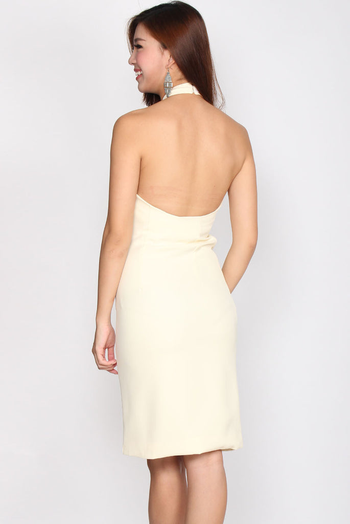 Liliana Strings Pencil Dress In Pale Yellow