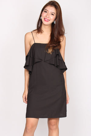 Lilibeth Ruffle Spag Dress In Black